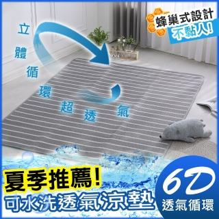 【HongYew 鴻宇】涼墊 水洗6D透氣循環墊 可水洗 矽膠防滑(雙人加大 不含枕墊)