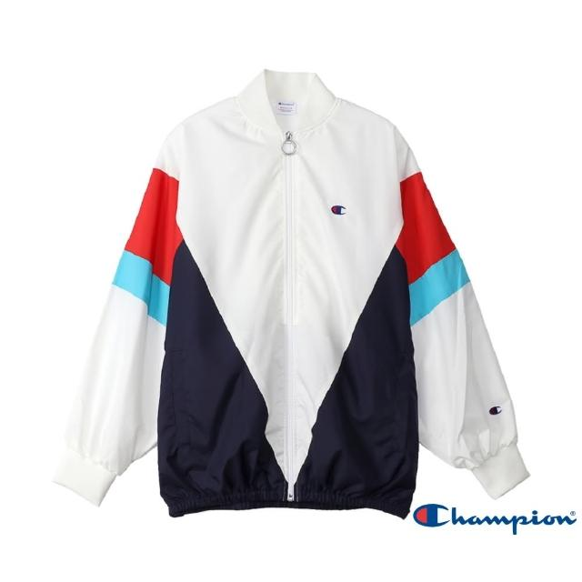 【Champion】Women Logo拼色外套(白色)