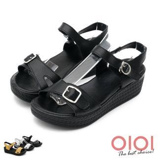 【0101】個性涼夏純色真皮楔型涼鞋(共三色)/
