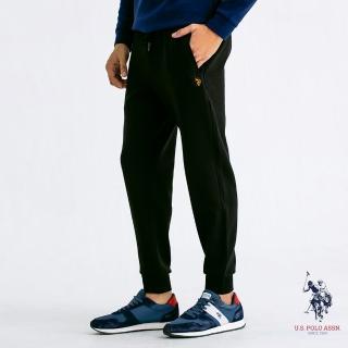 【U.S. POLO ASSN.】縮口休閒針織褲(黑色)