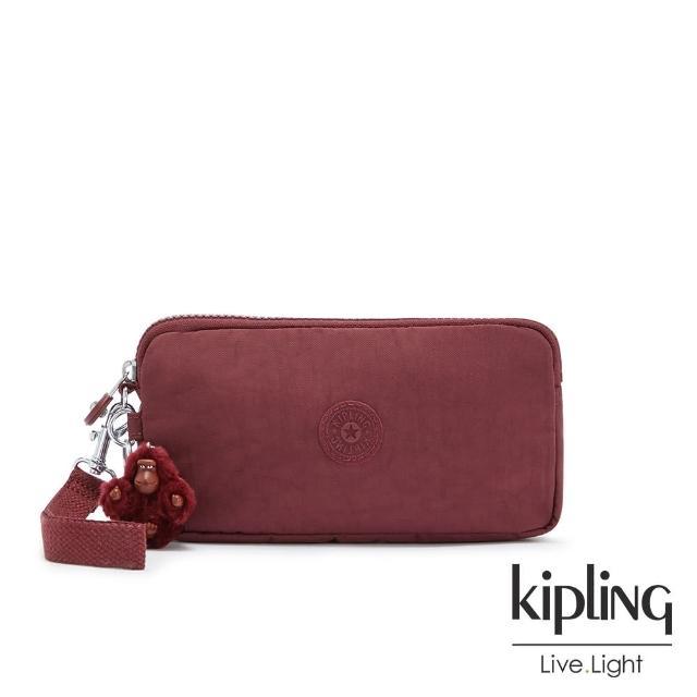 【KIPLING】知性典雅酒紅手拿包-LOWIE/