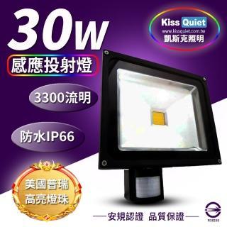 【KISS QUIET】質感黑 30W LED感應投射燈/全電壓/高PF-1入(LED投射燈/防水投射燈/戶外燈具/感應投射燈)