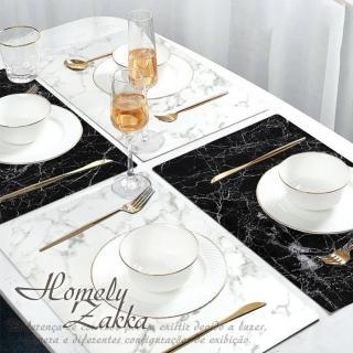 【Homely Zakka】北歐簡約ins風大理石紋皮革餐墊/防燙隔熱墊/桌墊