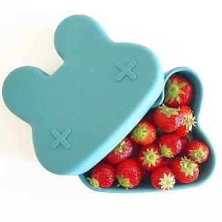 【We Might Be Tiny】矽膠防滑便當盒兔寶寶-孔雀藍(矽膠餐具)