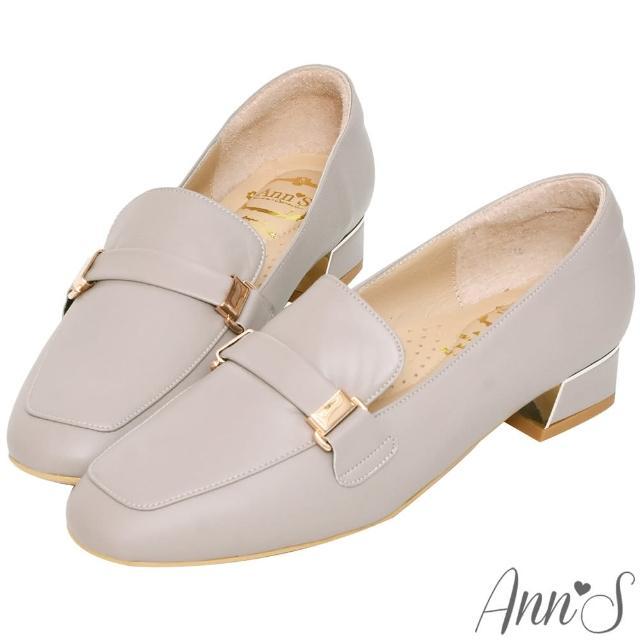 【Ann'S】超柔軟綿羊皮-微方頭訂製扣帶金屬粗跟紳士鞋3cm(灰)/