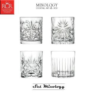 【義大利RCR】MIXOLOGY SET 經典酒杯4件組(威士忌杯/烈酒杯/飲料杯)