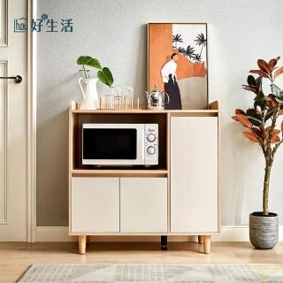 【hoi! 好好生活】林氏木業北歐風百搭0.9M餐邊櫃 LS187-原木色+白色