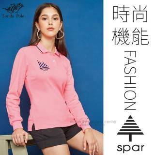 【SPAR】女款 吸濕排汗透氣長袖POLO衫.運動休閒衫.排汗上衣(P207302 亮粉桔色)