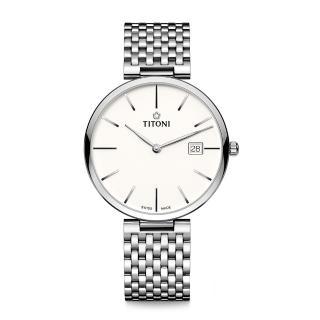 【TITONI 梅花錶】纖薄系列機械錶 白面鋼帶 39mm(82718 S-606)