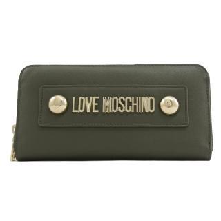【MOSCHINO】LOVE MOSCHINO 鉚釘LOGO拉鍊發財長夾(墨綠)