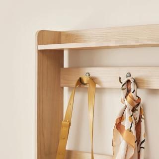 【hoi! 好好生活】林氏木業美式現代小戶型附掛勾雙門對開0.9M鞋櫃 JS2N-A 原木色+白色