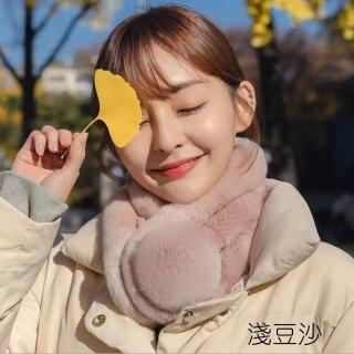 【HaNA 梨花】韓國東大門暖暖冬天來了.三管獺兔毛毛球圍脖脖圍