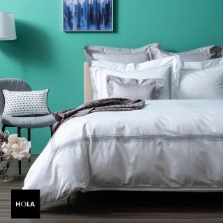 【HOLA】組義式孟斐斯埃及棉素色床被組雙人白+9010輕暖羽絨被雙人米白