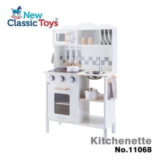 【New Classic Toys】聲光小主廚木製廚房玩具-天使白 11068(通過ST安全玩具檢驗 配件12件組)
