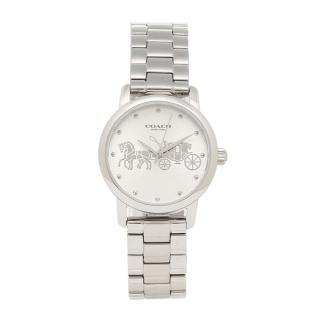 【COACH】氣質銀白色大馬車圖騰不鏽鋼錶帶時尚腕錶(14502975)/