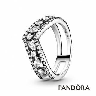 【Pandora官方直營】欖尖形寶石許願骨戒指/