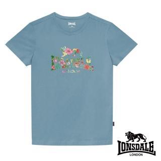 【LONSDALE 英國小獅】夏日扶桑花LOGO短袖T恤(淺藍LT002)