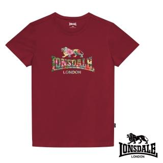 【LONSDALE 英國小獅】夏日扶桑花LOGO短袖T恤(暗紅LT002)