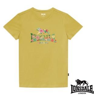 【LONSDALE 英國小獅】夏日扶桑花LOGO短袖T恤(鵝黃LT002)
