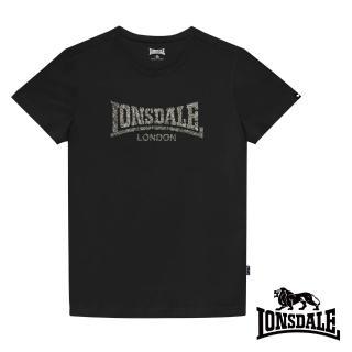 【LONSDALE 英國小獅】極簡植絨LOGO短袖T恤(黑色LT003)