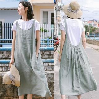 【設計所在】吊帶裙-前後兩穿亞麻長版過膝洋裝 Q9636(S-L可選)