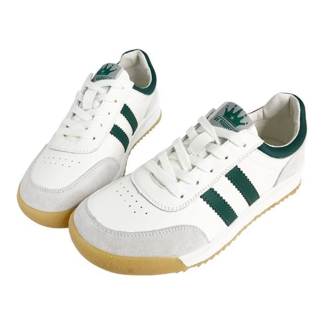 【Robinlo】超回彈可折復古感線條牛皮小白鞋(多款任選)