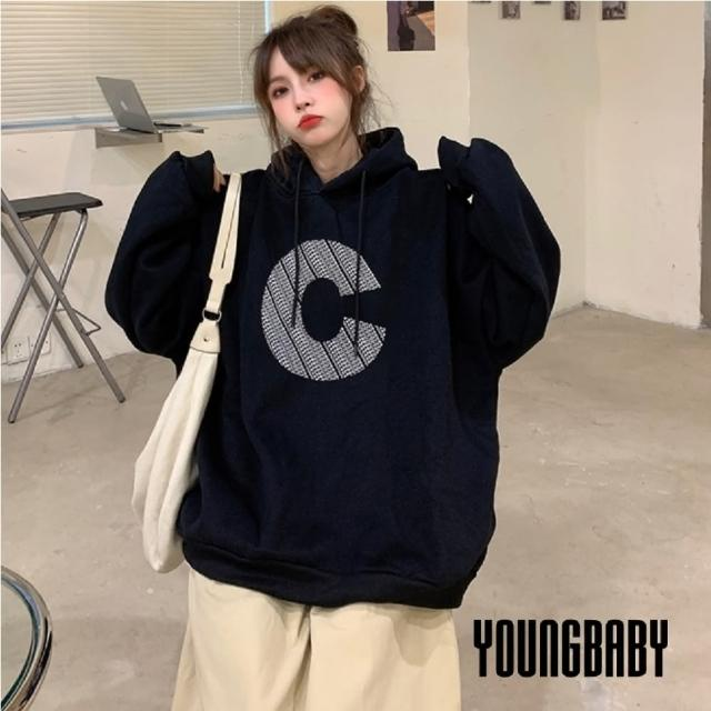 【YOUNGBABY】前後個性C黑色垂繩連帽加絨加厚T(黑)