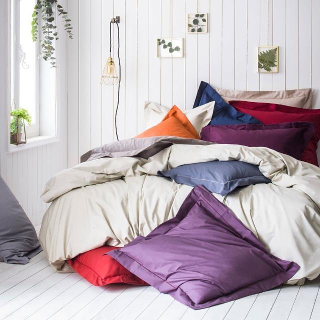 【ESSIX】100%長纖棉素色床包-科爾馬系列(加大180x210cm)/