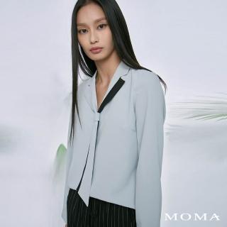 【MOMA】撞色領帶翻領上衣(藍色)/