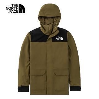 【The North Face】The North Face北面男款綠色防水透氣連帽衝鋒衣|4U8P37U