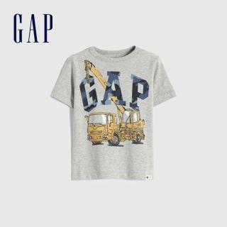 【GAP】男幼童 布萊納系列 Logo童趣圓領短袖T恤(671201-淺麻灰)