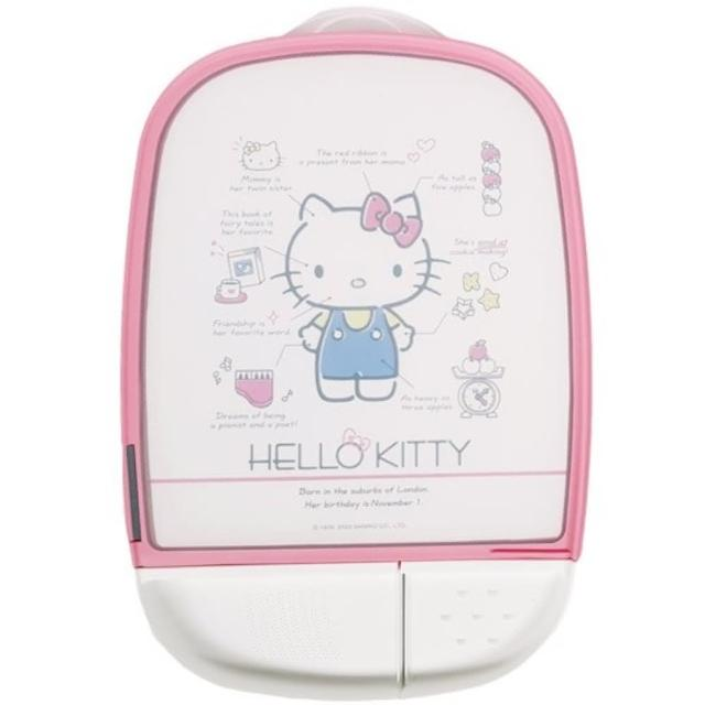 【小禮堂】Hello Kitty 方形圓角塑膠砧板 磨刀石 佐料盤 切菜板 菜砧 《粉邊 分析》