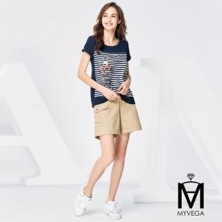 【MYVEGA 麥雪爾】MA高含棉貝殼釦休閒短褲-黑/卡其(二色)