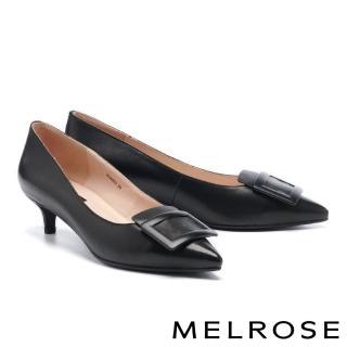 【MELROSE】氣質高雅方釦尖頭低跟鞋(黑)/