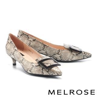 【MELROSE】氣質高雅方釦尖頭低跟鞋(米)/