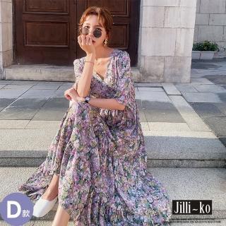 【JILLI-KO】赫本風拼接碎花連衣裙-M/L/XL(多款任選)