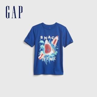 【GAP】男童 純棉創意印花短袖T恤(683398-藍色)