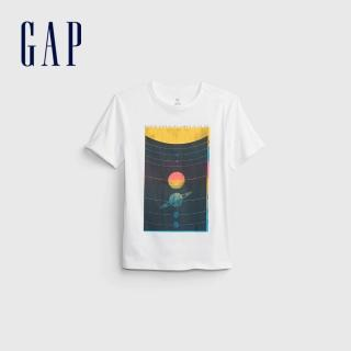 【GAP】男童 純棉創意印花短袖T恤(683398-白色)