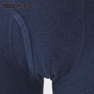 【MUJI 無印良品】男有機棉針織前開拳擊內褲(深藍)