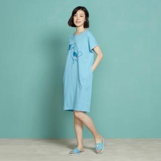 【Yvonne Collection】大嘴鳥圖案短袖洋裝(晴空藍)