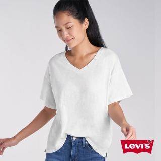 【LEVIS】女款 V領短袖素T恤 / 簡約白-人氣新品