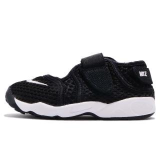 【NIKE 耐吉】慢跑鞋 Little Rift TD 運動 童鞋 跑鞋 忍者鞋 魔鬼氈 透氣 輕量 小童 黑 白(317415-014)