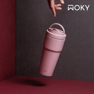 【WOKY 沃廚-買1送1】手提激凍輕芯鈦瓷易潔層保溫杯750ml