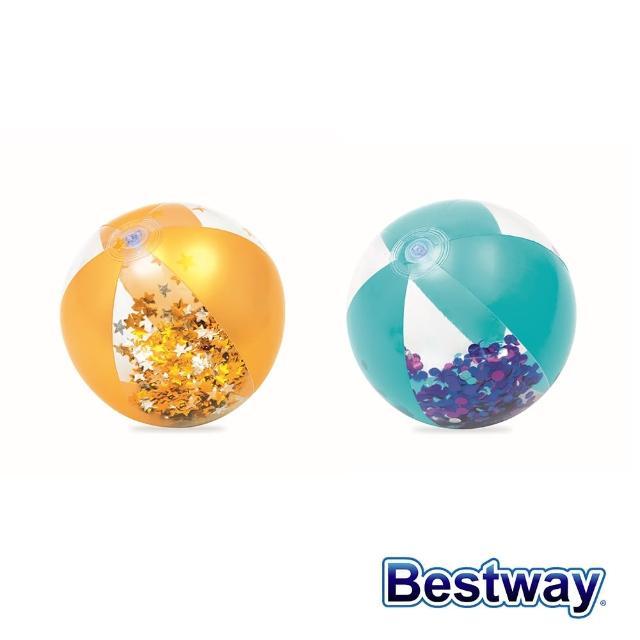 【BESTWAY】Bestway。16吋透明亮片沙灘球