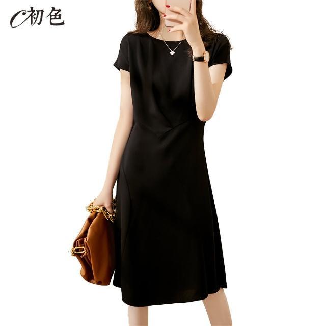 【初色】法式設計感拼接洋裝-黑色-98707(M-2XL可選)/