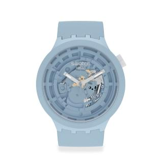 【SWATCH】生物陶瓷BIG BOLD系列手錶C-BLUE 粉藍(47mm)