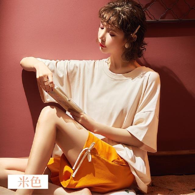 【NEW FORCE】韓版簡約少女居家套裝-4色可選(L-2XL/居家服/居家套裝/女套裝/睡衣)
