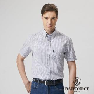 【BARONECE 百諾禮士】男裝 進口素材細格短袖襯衫-藍色(1188161-35)