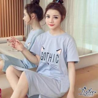 【Dylce 黛歐絲】韓版印花春夏短袖居家睡衣裙(4款任選/寬鬆顯瘦/親膚舒適)