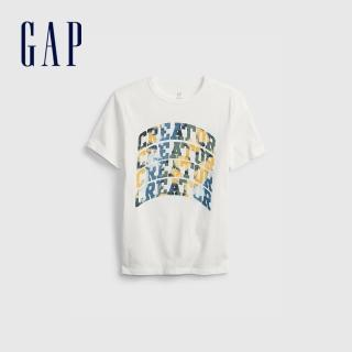 【GAP】男童 潮酷純棉印花短袖T恤(683400-白色)